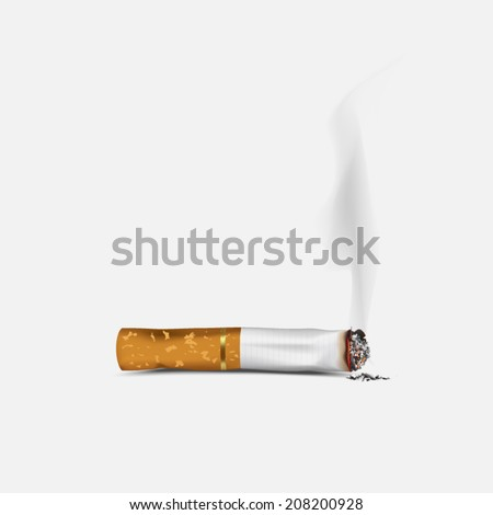 Cigarette burns on white background. - stock vector