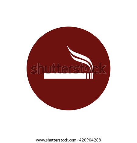 Cigarette icon vector. Allowed smoking sign. Red circle. Red button - stock vector