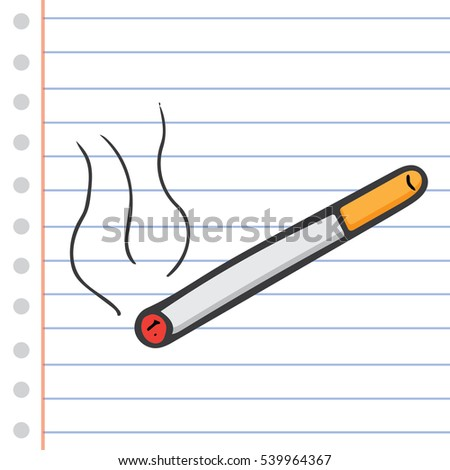 Cigarette In Cartoon Free Style Hand drawn Vector Illustration Isolated
