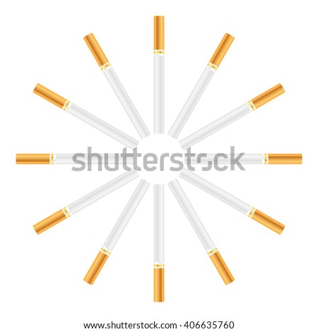 Cigarette set on a white background.