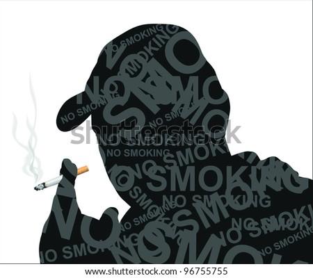 Cigarette smoking (vector) - stock vector