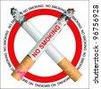 Cigarette smoking (vector silhouette ) - stock vector