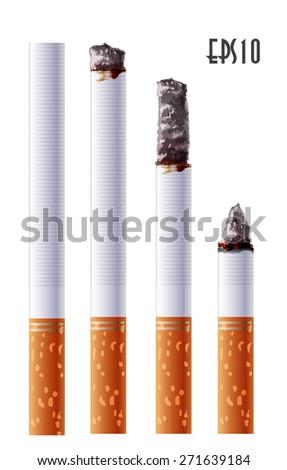 Cigarette smoldering - stock vector