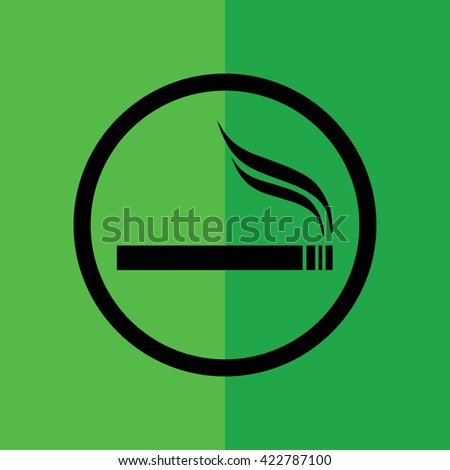Cigarette vector icon. Allowed smoking sign. Green background - stock vector