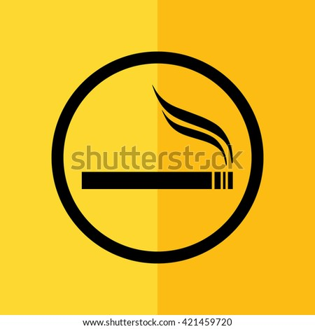 Cigarette vector icon. Allowed smoking sign. Yellow background - stock vector