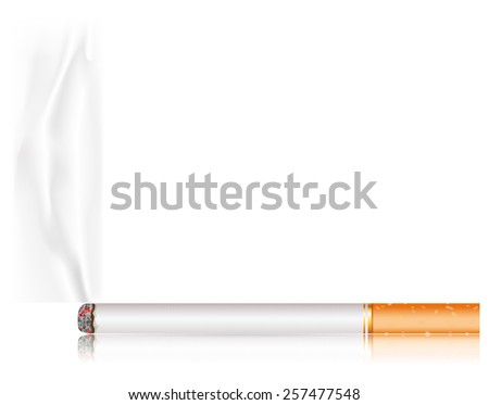 Cigarette with smoke. Vector Illustration on white background - stock vector