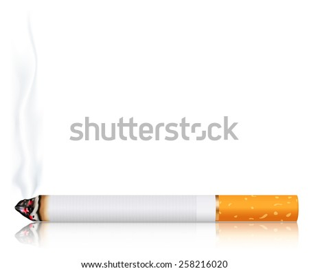 Cigarette with smoke. Vector Illustration on white background