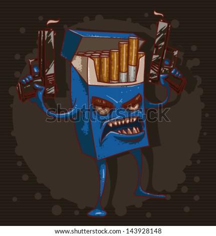 Cigarettes are killing 02, vector - stock vector