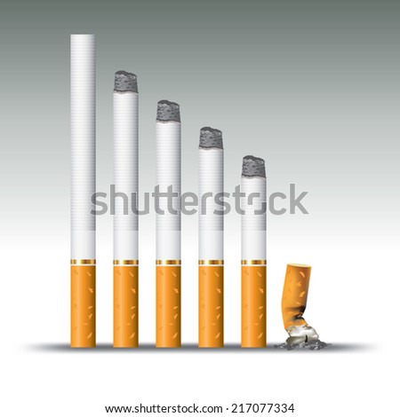 Cigarettes during different stages of burn. Vector illustration