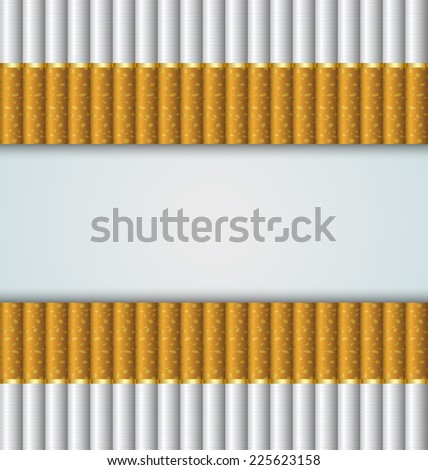 Cigarettes stacked up side by side on pale background - stock vector