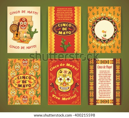 Cinco de Mayo. Big set of vector templates  with traditional Mexican symbols. Format A4. - stock vector