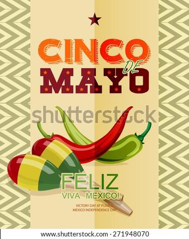 Cinco de Mayo. Feliz. Viva Mexico. Text in Spanish. Day victory at Puebla, Mexico Independence Day. - stock vector