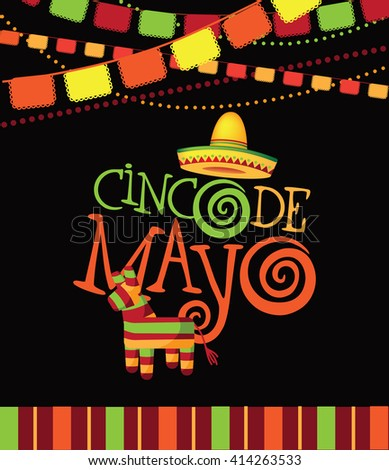 Cinco De Mayo festive design with hand drawn lettering. EPS 10 vector.