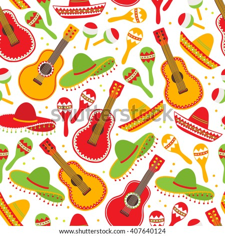 Cinco de Mayo (Fifth of May) seamless pattern with guitar, sombrero and maracas. Perfect for wallpaper, gift paper, pattern fills, Mexican greeting cards. Vector illustration - stock vector