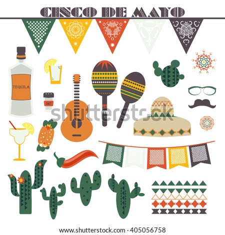 Cinco de Mayo (fifth of May). Vector illustration with traditional Mexican symbols, national elements - guitar, maracas, sombrero, tequila, taco, music instruments, paper banners Travel to Mexico icon - stock vector