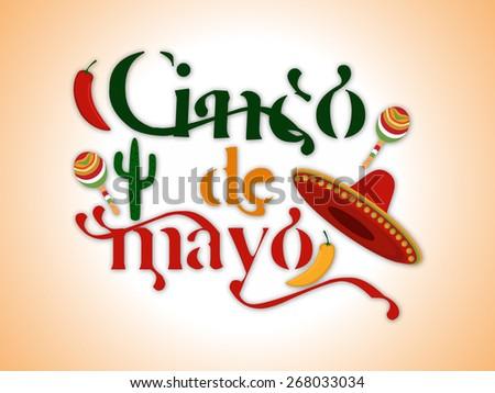 Cinco De Mayo greeting jalapeno, sombrero,cactus, for Mexicans celebration (Happy 5th of May).Eps 10 - stock vector