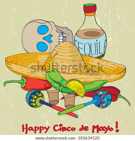 Cinco de mayo hand drawn cartoon illustration of a greeting card composition with mexican traditional elements oven a grungy background - stock vector