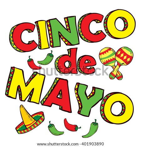 Cinco De Mayo hand drawn lettering design - stock vector