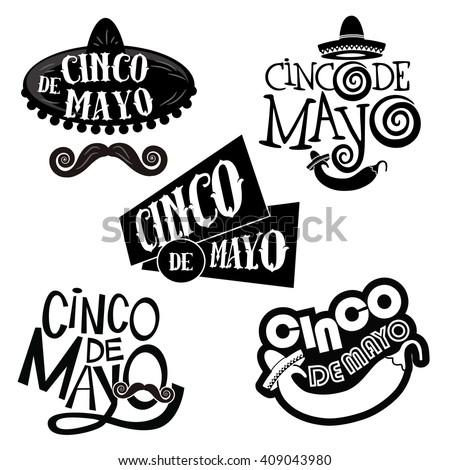 Cinco De Mayo hand drawn lettering design collection EPS 10  - stock vector
