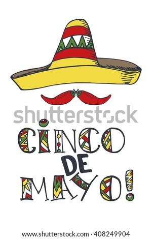 Cinco de mayo vector icon mexican stock vector 409275022 shutterstock cinco de mayo lettering greeting cardxico vectordoodle handwritten wordstitles calligraphy m4hsunfo