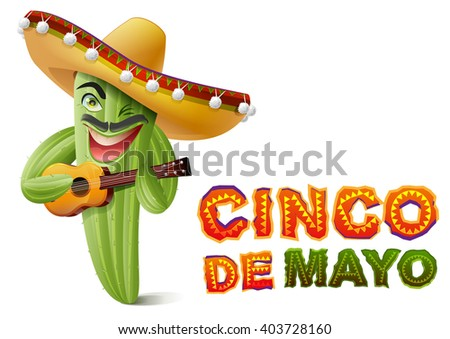 Cinco de Mayo. Mexican cactus in sombrero playing guitar. Greeting card template. Isolated on white vector illustration - stock vector