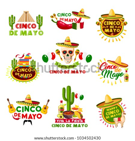 Cinco de mayo mexican holiday celebration stock vector 1034502430 cinco de mayo mexican holiday celebration icons vector set of mexico aztec pyramid sombrero m4hsunfo Image collections