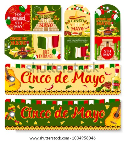 Cinco de mayo mexican holiday fiesta stock vector 1034958046 cinco de mayo mexican holiday fiesta celebration tags with greetings and traditional mexico symbols vector m4hsunfo Image collections