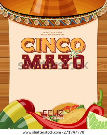 Cinco de Mayo. Poster with blank paper. Text in Spanish. Day victory at Puebla, Mexico Independence Day. - stock vector