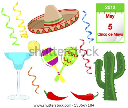 Cinco De Mayo. Set of holiday elements and icons. Vector illustration.