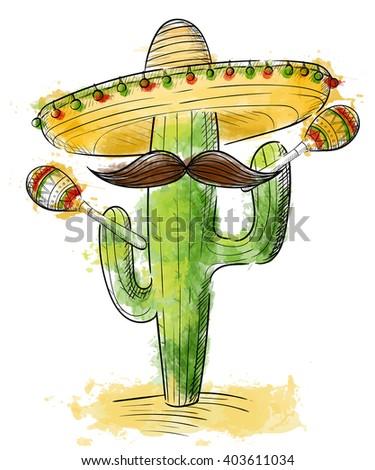 cinco de mayo Sombrero, maracas and jalapeno  mexico set - stock vector