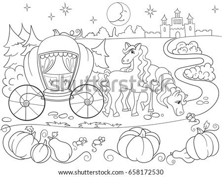 Cinderella Fairy Tale Coloring Book For Children Cartoon Vector Illustration Black And White