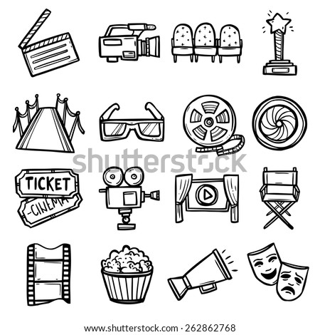 Cinema and entertainment arts hand drawn decorative icons set with clapperboard camera chairs award isolated vector illustration - stock vector
