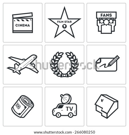 Cinema and Glory icons: popular actor fans fee. Vector Illustration. - stock vector