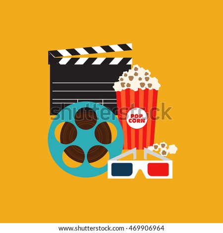 Cinema and movie element isolated with film reel, clapper, popcorn, 3d glasses, vector illustration