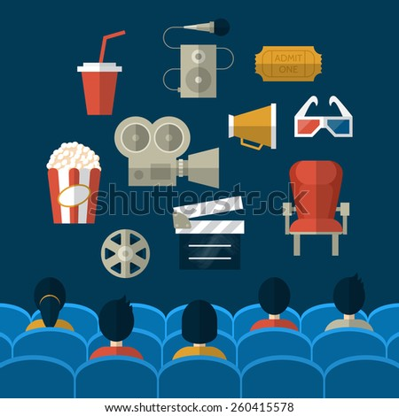 Cinema and movie flat modern icons. People seating in movie theater  - stock vector