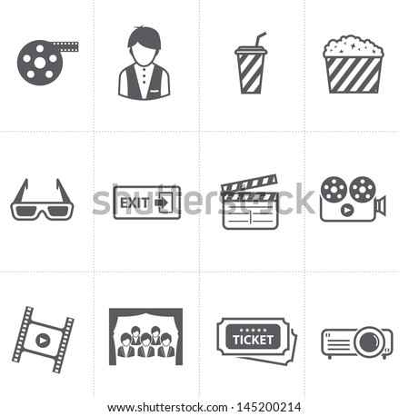 cinema and movie icons set - stock vector