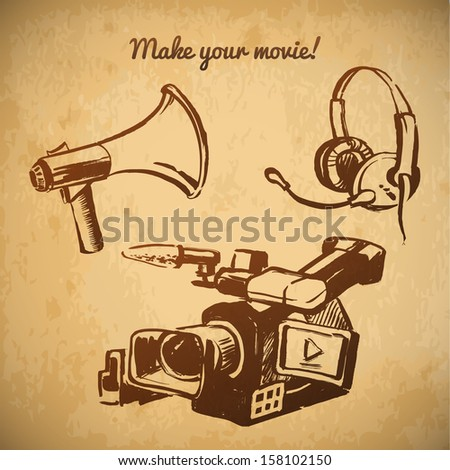 Cinema and movie vintage vector set. camera, headset, bullhorn - stock vector