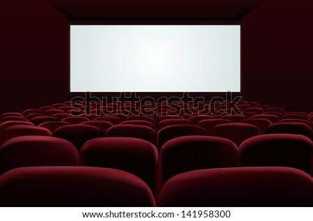 Cinema auditorium with screen and seats - stock vector