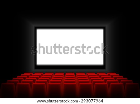 Cinema auditorium with screen and seats. Dark cinema auditorium with a luminous white blank screen. Vector illustration