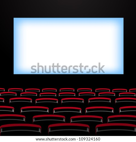 Cinema auditorium with screen and seats. Variant 1 - stock vector