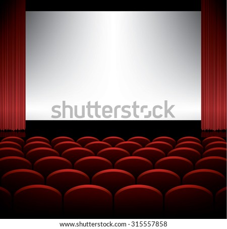 Cinema auditorium with seats and screen, vector background - stock vector