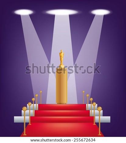 cinema award under the spotlight color vector illustration - stock vector
