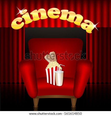 cinema background.cinema hall.red chair with a drink and popcorn on a background of portieres.vector - stock vector