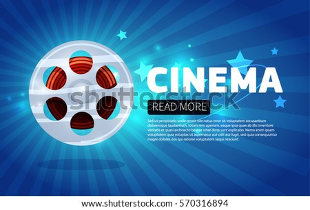 Cinema Background Banner Movie Flyer Ticket Stock Vector 519059626