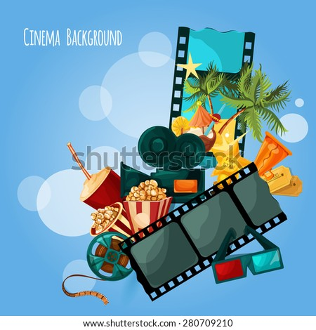 Cinema background with cartoon film and movie decorative elements vector illustration - stock vector