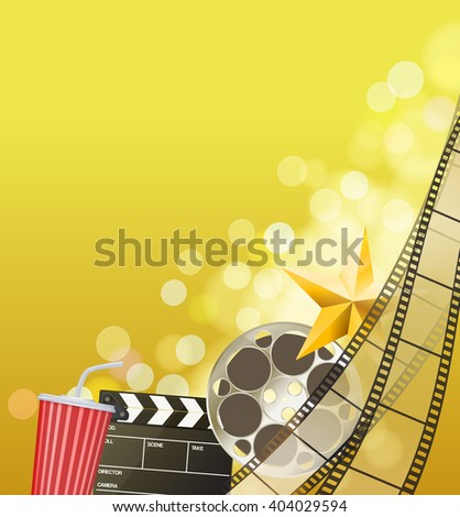 Cinema background with filmstrip, golden star, cup, clapperboard on blurry golden background. vector  - stock vector
