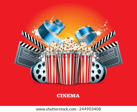 Cinema Background with movie film reel and popcorn - stock vector