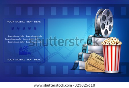 Cinema background with popcorn and tickets. - stock vector