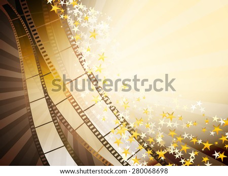 cinema background with retro filmstrip and golden stars - stock vector