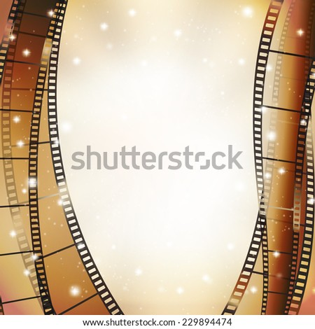 cinema background with retro filmstrip and stars as vertical borders  - stock vector